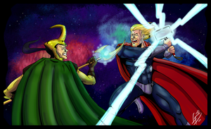 Thor VS Loki by LucasDuimstra