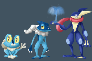 Froakie's Evolution Line by LunarHalo24
