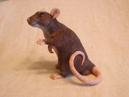 Rat sculpture agouti alt. view 2 by philosophyfox