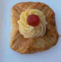 Just a fresh Danish pastry (with cherry) by Wael-sa