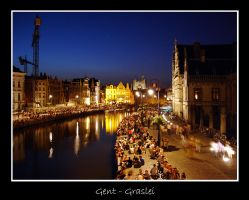 Belgium - Graslei by night by lux69aeterna