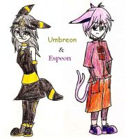 Umbreon + Espeon by HM-and-anime-fan