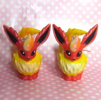 SOLD Cute Flareon figure earrings by KawaiiMoon24