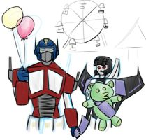 prompt: optimus and skywarp by spacehussy