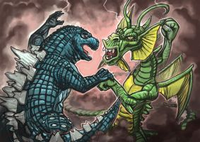 Daily Sketches Godzilla vs Fin Fang Foom by fedde