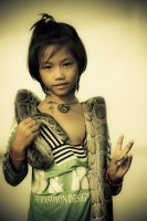 snake girl in Cambodia by anupjkat
