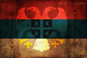 Serbian Grunge Flag with crest by ChAbO93