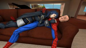Lucina and Spider-Man sleeping on a couch by kongzillarex619