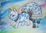 Play in Blue - Art Trade with Rannarbananar by WatercolorsInTheRain
