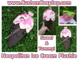 Neopolitan IceCream Plushie by The-Cute-Storm