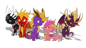 Spyro Gang Chibis by Neffertity