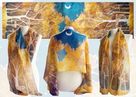 Silk scarf Lothlorien - for SALE by MinkuLul