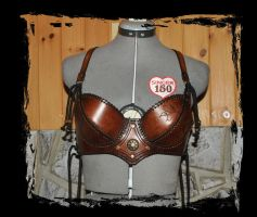 floral leather bra front view by Lagueuse