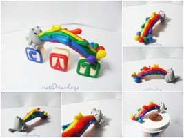 Polymer Clay Rainbow-Vomiting Cat Figurine by Saru-Hime