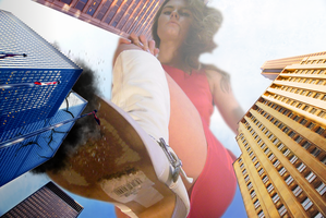 Giantess Marie-Claire Gives the City the Boot by dochamps