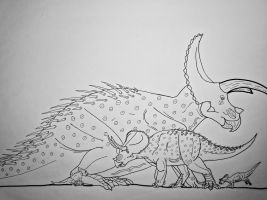 Triceratops Family by Saberrex