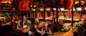 Warm Tavern Interior by ValynTheWise
