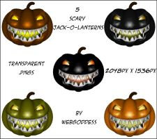 Scary Jack-o-Lanterns Set 1 by webgoddess