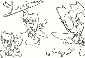 Yumi Human Form sketches by KingFlurry
