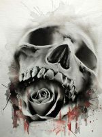 Glen Preece skull rose by tokerone87