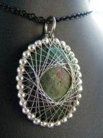 ruby in zoisite with silver fractal wrap by BacktoEarthCreations