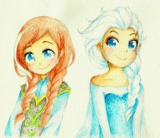 Anna and Elsa by anime-lover05