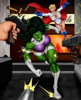 She-Hulk and Power Girl by OrionPax09