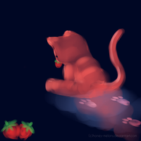Strawberry Cat by honey-melons