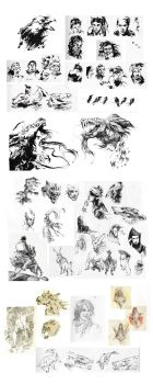 Brushpen/ballpoint/pencil sketchdump - 2014 by nondev