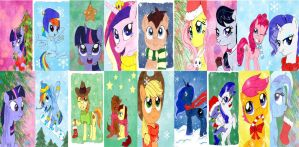 My Little Pony Christmas Cards by ChibiOsakachan
