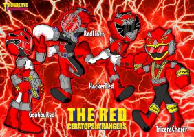 THE RED CERATOPSIA RANGERS chibi ver by thunderyo