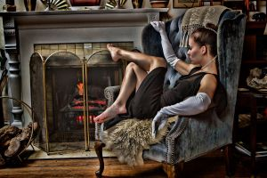 Barefoot Elegance at the Fireplace II by Wuss-Lee