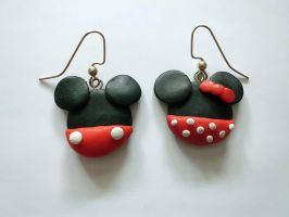 Mickey and Minnie Earrings by UneGlaceRose