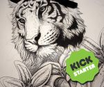 WIP -Tiger and Lilies - Kickstarter Colouring Book by LuxDani