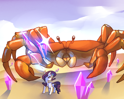 Rarity vs. Giant Crab by Karzahnii