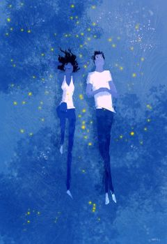 Blue grass and Fireflies. by PascalCampion
