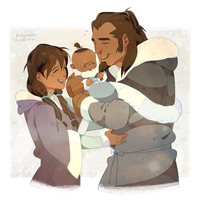 Senna Tonraq and bb Korra by freestarisis