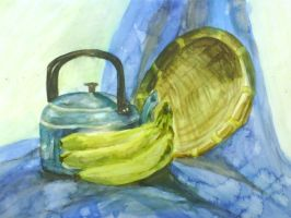 Basket, Kettle and Bananas by KinKiat