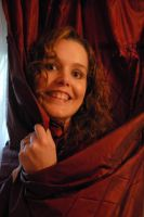 Heather with Red Curtain 02 by LinzStock
