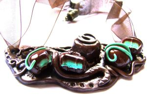 mint chocolates necklace by dragonflyme