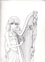 Hotaru Playing Harp by usagi-wrath-elric
