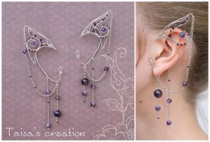 Elfin Ear Cuffs with Amethyst Beads by Taisa-Winged