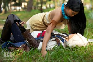 Connor Kenway and Pocahontas by kimberlystudio