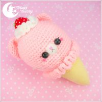 Crochet ice-cream bear Poni-poni (peach) Toy by CuteMoonbunny