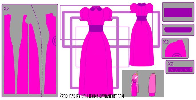 PB classic dress cosplay design draft by Hollitaima