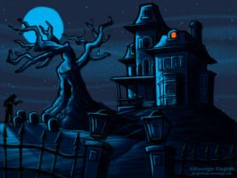 Haunted House Cartoon Sketch by gcoghill