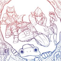 Star Fox - Mission Complete Line Art by darkmanacloud