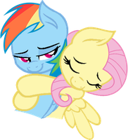 Fluttershy Hugs Rainbow Dash by DJBrony24