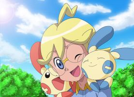 Clemont with Plusle And Minun by KawaiiHarukaChan