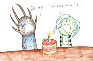 The cake is a lie by DragonofDarkness1992